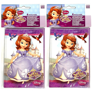 Pack of 12 Disney Sofia The First Party Invitations With Envelopes - Birthday