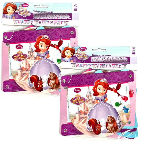 Pack of 2 Sofia the First 'Happy Birthday' Letter Banner Party Decorations