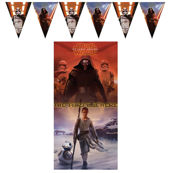 This Star Wars banner pack includes: Star Wars 'The Force Awakens' Flag Banner 2.3m long Star Wars 'The Force Awakens' Door Banner 75cm x 150cm.