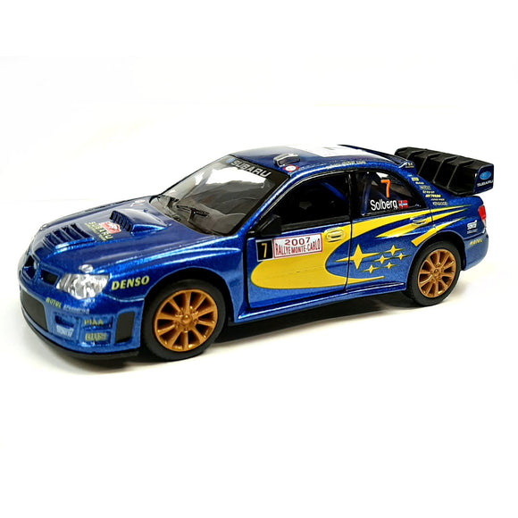 This iconic die cast model Subaru WRC Impreza car has exquisite detail and shows the sponsors and features the W.R.C. World Rally Champion colours. This car measures L 12 cm x W 5 cm x H 4 cm and has opening doors.