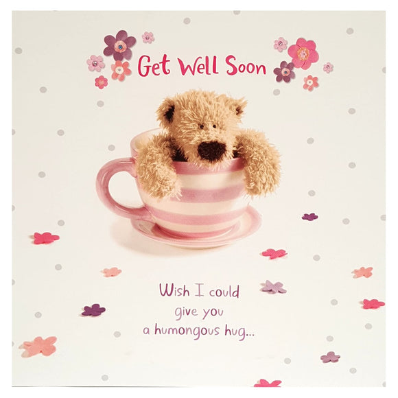 Hallmark Cute  Teddy Bear Get Well Soon Greetings Card
