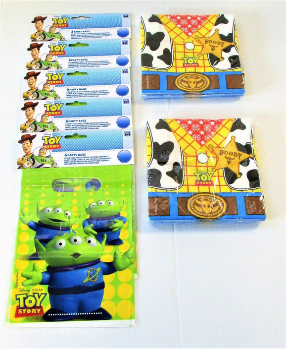 Toy Story Pack of 30 Party Bags and 40 Napkins - Disney Tableware and Gift Bags