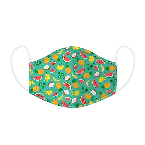 This Age 12+ to Adult Size 2 layer face mask covering is in a Tropical  design.  Large Size (Rough Size Age 12+) 23 cm x 13 cm