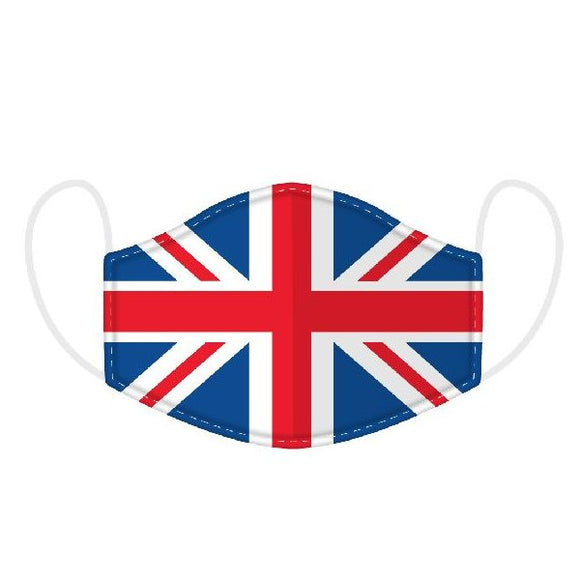 This Age 12+ to Adult Size 2 layer face mask covering is in a Union Jack UK Flag  design.  Large Size (Rough Size Age 12+) 23 cm x 13 cm