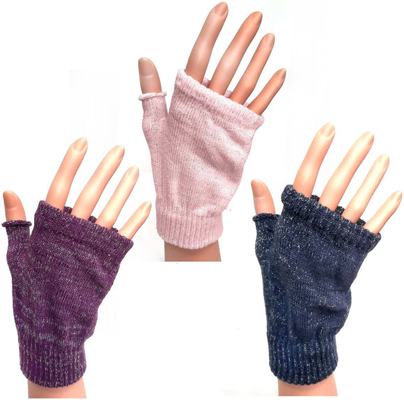 Knitted Fingerless Gloves With Silver Threads