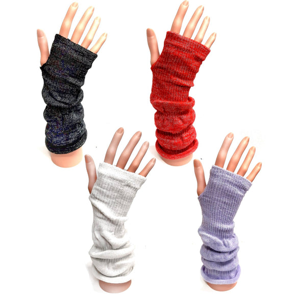 Long Fingerless Knitted Gloves With Silver Sparkle