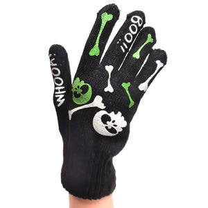 Knitted Gloves Black With Skull, Bones and 'Boo!'