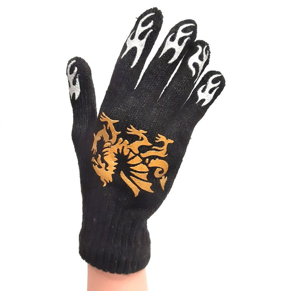 Knitted Gloves Black With Gold Dragon Print for Adults and Kids