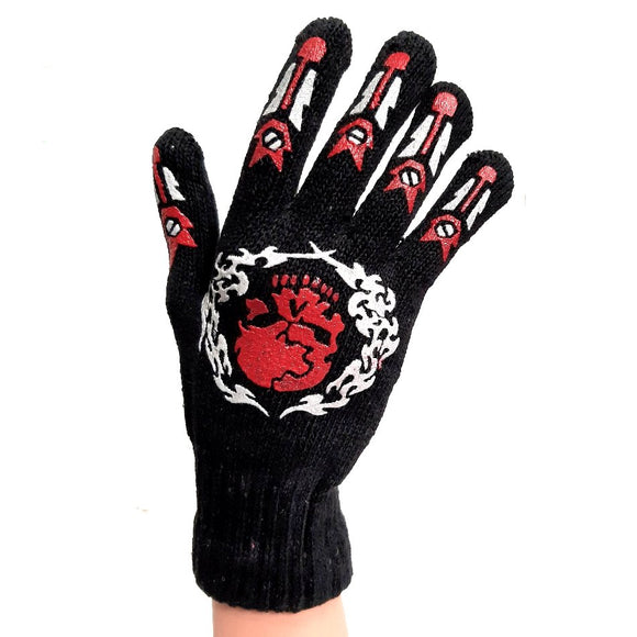 Knitted Gloves Black With Red Skull for Adults and Kids