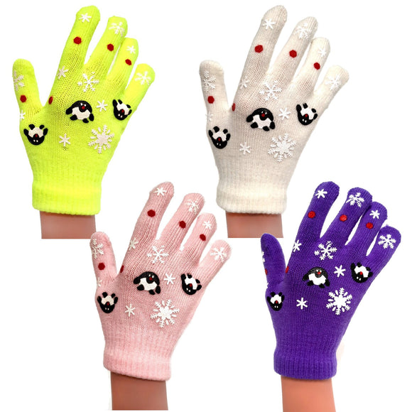 Children's Kids Penguin Snowflake Gloves