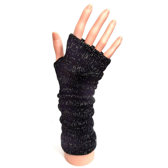 Knitted Long Fingerless Gloves Black and Silver Mix