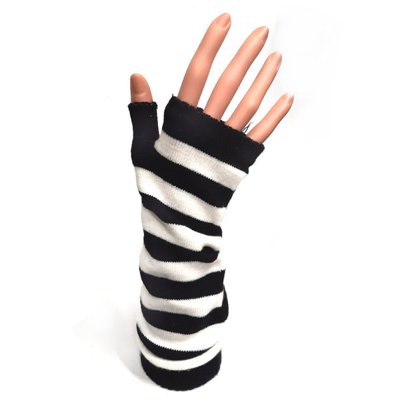 Long Fingerless Gloves Black and White Stripe
