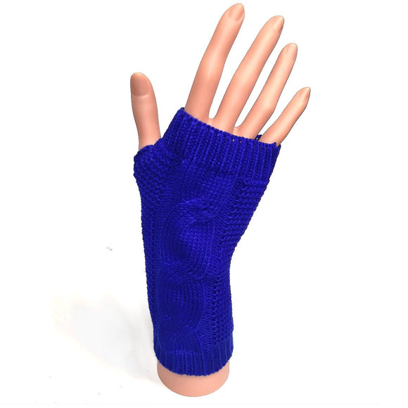 Knitted Fingerless Gloves Bright Blue