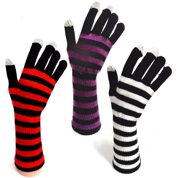 Long Stripey Winter Gloves