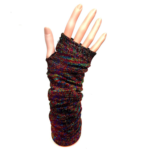 Long FIngerless Multi Colour Rainbow Gloves 70's 80's Party Fancy Dress