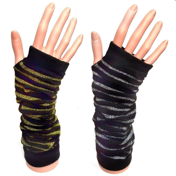 Long FIngerless Gloves Black and Metallic Stripe