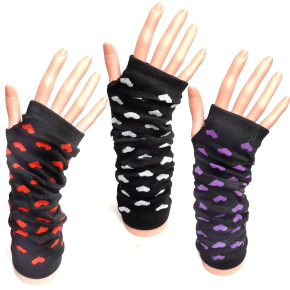 Long Fingerless Gloves With Hearts