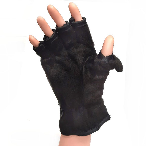 Fingerless Winter Fleece Gloves With Mitten Cover
