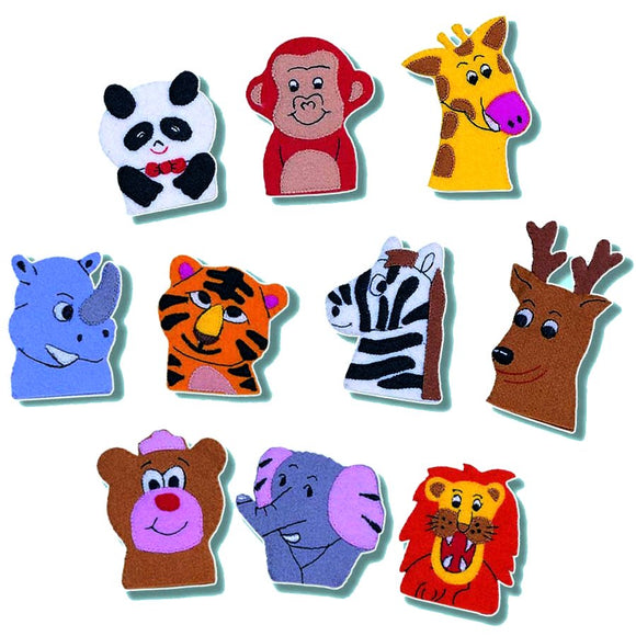 Set of 10 Wild Animal Finger Puppets - Children's Story Time Puppets School
