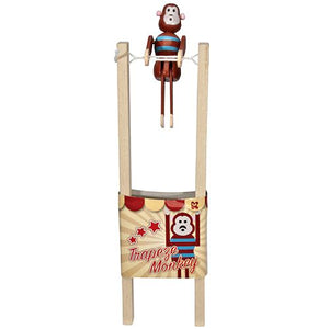 Wooden Trapeze Acrobat Monkey Pocket Money Toy