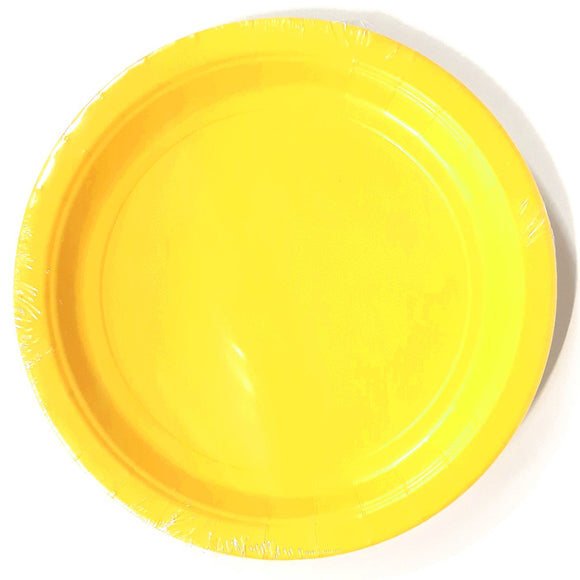 Pack of 8 Yellow Paper Plates - Party Tableware and Yellow Party Supplies