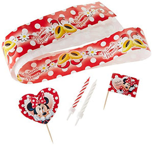 This Minnie Mouse Cake decorating kit has 19 pcs  Kit includes   1 x Cake Wrap  2 x Heart Shaped Minni Mouse Cake Picks  4 x Minnie Mouse Cake Flags  12 x Minnie Mouse Cake Candles