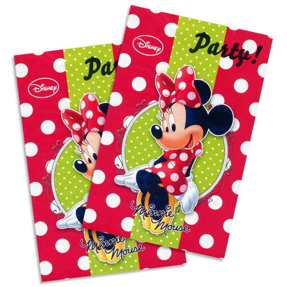 A Pack of 6 party invitations with envelopes.  Minnie Mouse Polka Dot Fashion Invites