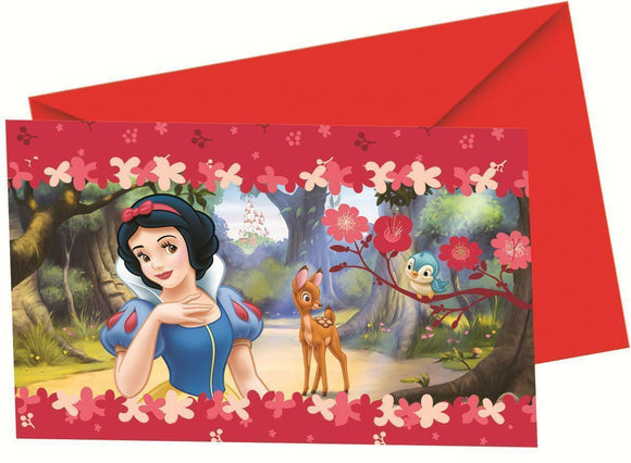 A pack of 6 deep Red Snow White Party Invite's  Each with a red envelope.