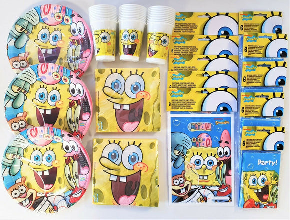Spongebob Party Pack for 30 Children - Sponge Bob Party Tableware & Decorations