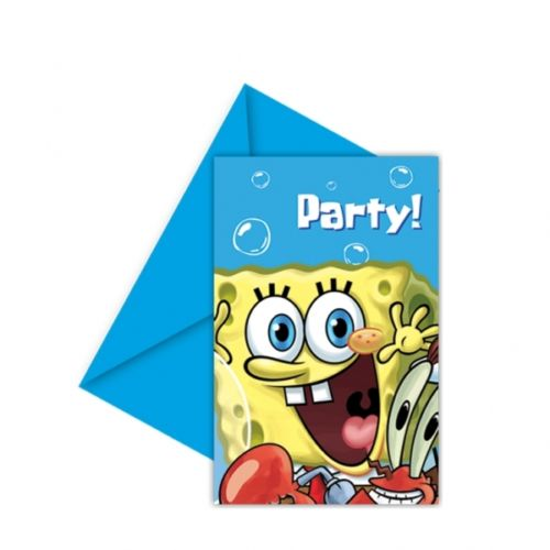 A Pack of 6 Sponge Bob Square Pants Party Invitations with envelopes.