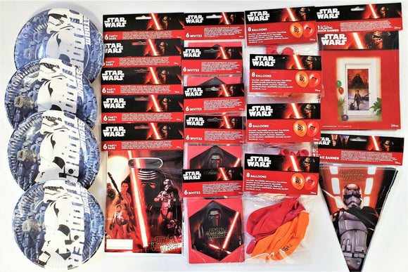 Disney Star Wars Party Pack for 30 People - Party Tableware and Decorations