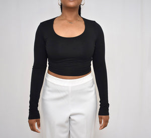 Black Out Long Sleeve Crop Top