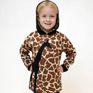 Giraffe All Natural long sleeve hooded shirt
