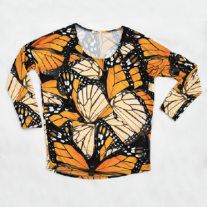 Monarch Butterfly Womens Long Sleeve Scoop Neck Shirt