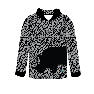 Black Rhinoceros All Natural Long Sleeve hooded shirt