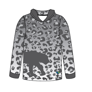 LIMITED EDITION- Snow Leopard long sleeve hooded shirt