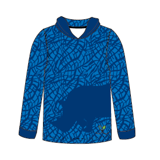 Black Rhinoceros Bright Blue long sleeve hooded shirt