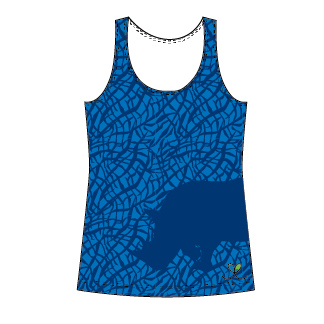 Black Rhinoceros Bright Blue tank top