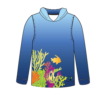 LIMITED EDITION- Coral Reef long sleeve hooded shirt