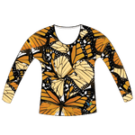 LIMITED EDITION- Monarch Butterfly Womens Long Sleeve Scoop Neck Shirt