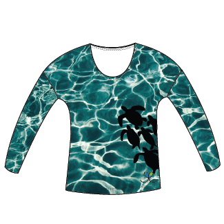 Sea Turtle Womens Long Sleeve Scoop Neck Shirt