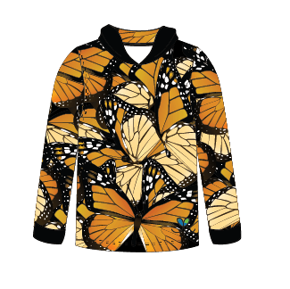 Monarch Butterfly Long sleeve hooded shirt
