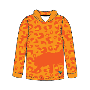 Amur Leopard Bright Orange long sleeve hooded shirt