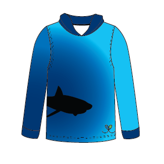 LIMITED EDITION- Great White Shark Long sleeve hooded shirt