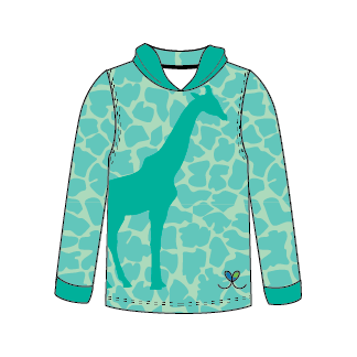 Giraffe Bright Teal long sleeve hooded shirt