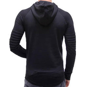 Men's Stylish Ridged Full Sleeve Hooded T-shirt