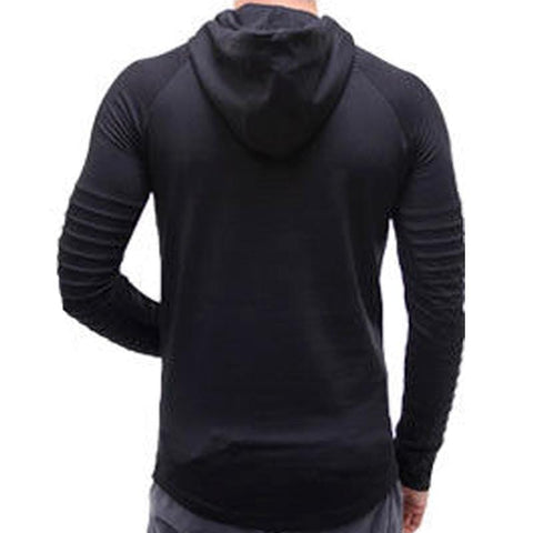 Image of Men's Stylish Ridged Full Sleeve Hooded T-shirt