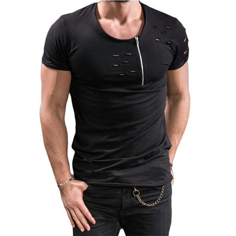 Men's Laser-Cut Ruffle T-Shirt