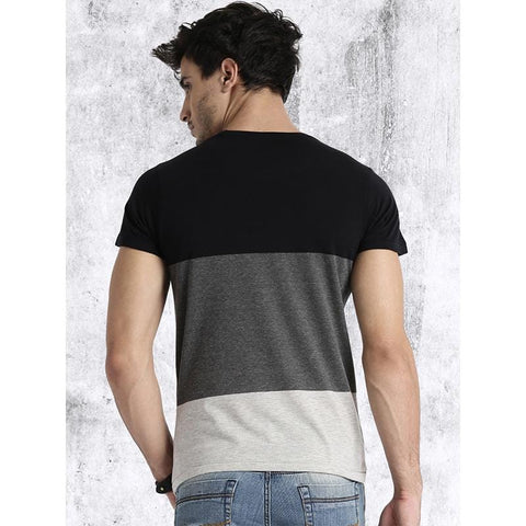 #101-Men Grey & Black Colour blocked Round Neck T-shirt