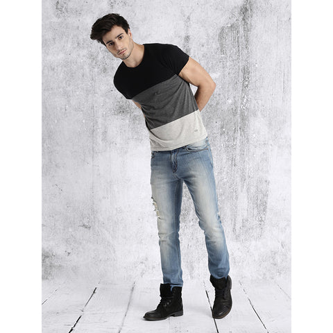 Image of #101-Men Grey & Black Colour blocked Round Neck T-shirt